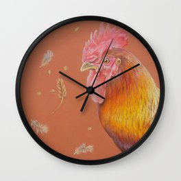 ROOSTER and HEN Farm animals Domestic birds illustration Wall Clock