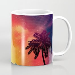 Sunset Vaporwave landscape with rocks and palms Coffee Mug
