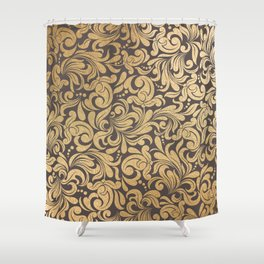 Gold foil swirls damask #11 Shower Curtain