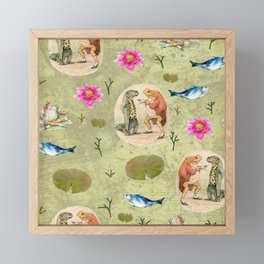 Mr Jeremy Fisher and Isaac Newton vintage pattern design Framed Mini Art Print