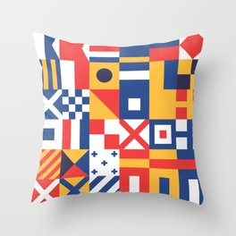 Maritime Nautical Signal Flags Mosaic Pattern Throw Pillow