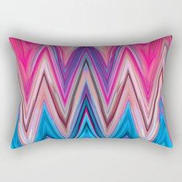 Bright Pink Teal Ikat Chevron Aztec Pattern Rectangular Pillow