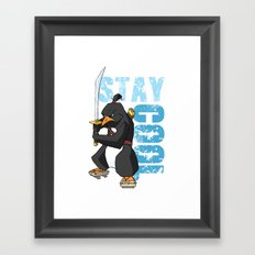 Stay Cool Samurai Penguin Framed Art Print