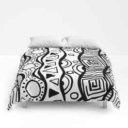 Four Waves - Freestyle Tribal Doodle Design Comforters