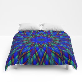 Stained glass flower mandala Comforters
