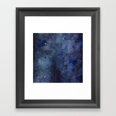 Galaxy Nebula Watercolor Night Sky Stars Outer Space Blue Texture Framed Art Print