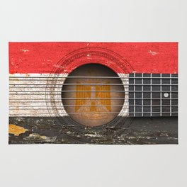 Old Vintage Acoustic Guitar with Egyptian Flag Rug