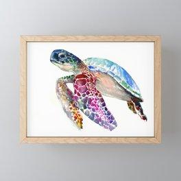 Sea Turtle, swimming turtle art, purple blue design animal art Framed Mini Art Print
