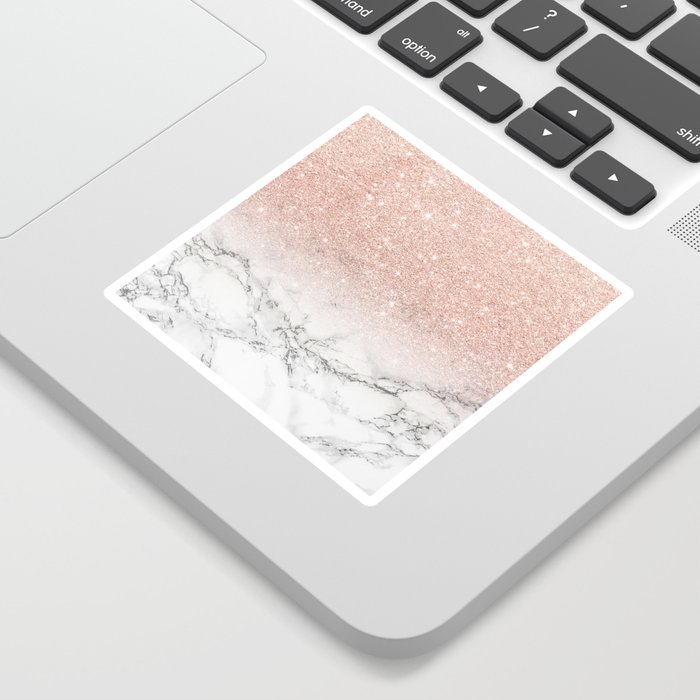 Modern faux rose gold pink glitter ombre white marble Sticker
