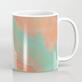 Living Coral and Teal Agate Coffee Mug