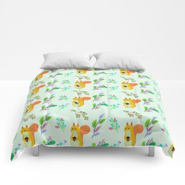 Cute hand painted yellow orange squirrel teal coral floral pattern Comforters