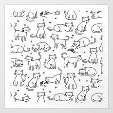 Kitties with Hearts Art Print