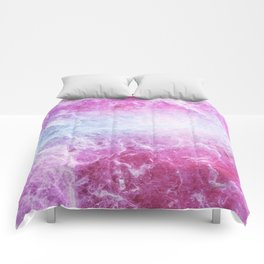 Enigmatic Pink Purple Blue Marble #1 #decor #art #society6 Comforters