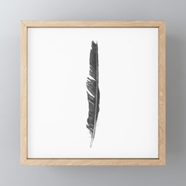 Black Ink Crow Feather Framed Mini Art Print