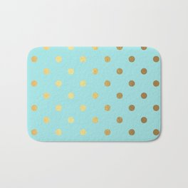 Gold polka dots on aqua background - Luxury turquoise pattern Bath Mat