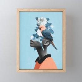 Girl with parrot Framed Mini Art Print