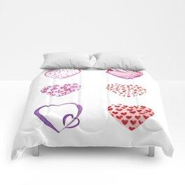 Watercolor Pink Hearts Comforters
