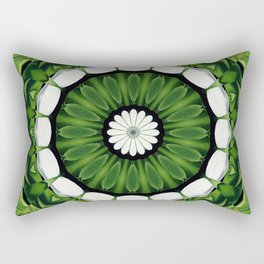Tropical Green and White Floral Mandala Rectangular Pillow