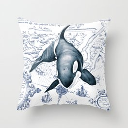 Orca Ancient Map Throw Pillow