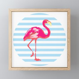Flamingo, Summer Poster, blue stripes, rounded version Framed Mini Art Print