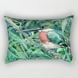 Green Kingfisher in Nature, green design Rectangular Pillow