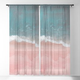 Turquoise Sea Pastel Beach III Sheer Curtain