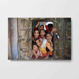 School kids in door Metal Print