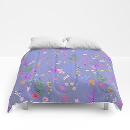 blue meadows colorful floral pattern Comforters