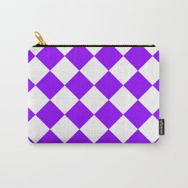 Large Diamonds - White and Violet Carry-All Pouch