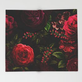 Mystical Night Roses Throw Blanket