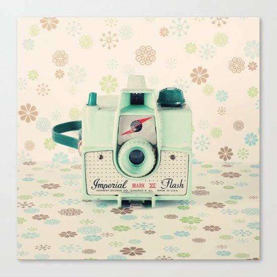 Mint Retro Film Camera on Beige - Cream Pattern Background  Canvas Print