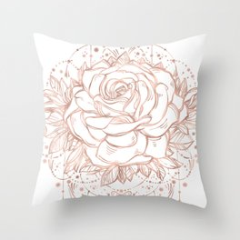 Mandala Lunar Rose Gold Throw Pillow