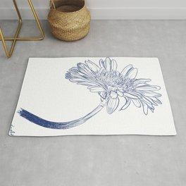 Blue Ink Gerbera Flower Drawing Illustration Rug