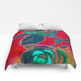 Neon roses Comforters