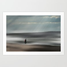Misty walk Art Print
