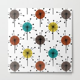 Atomic Era Sputnik Starburst Flowers Metal Print