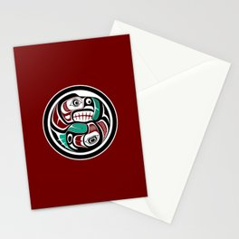 Northwest Pacific coast Otter chasing Salmon Stationery Cards