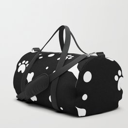 White dog paw and bones pattern on black background Duffle Bag