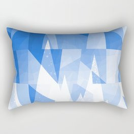 Abstract Blue Geometric Mountains Design Rectangular Pillow