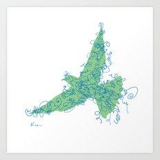 Bird Fly No. 2 (Blue/Green) Art Print