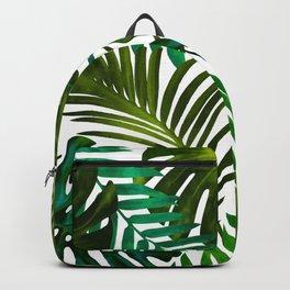 Tropical Dream, Jungle Nature Botanical Monstera Palm Leaves Illustration, Scandinavian Painting Backpack