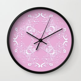 Romantic pink lace texture. Wall Clock