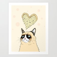 Grumpy Pizza Love Art Print