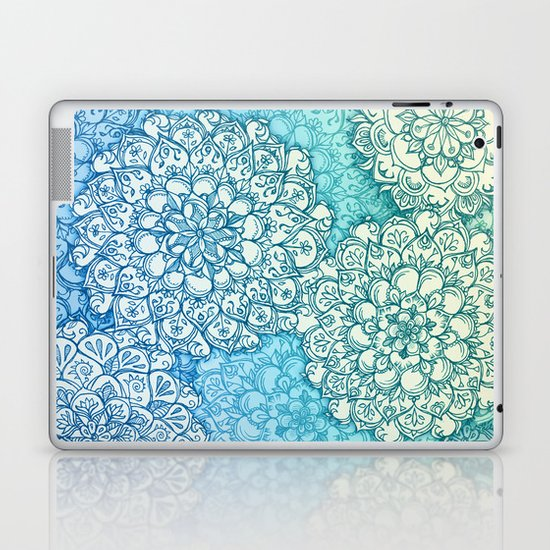 Blue Green Ballpoint Pen Doodle Poem Laptop & iPad Skin