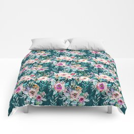 EFFUSIVE FLORAL Dark & Colorful Boho Pattern Comforters
