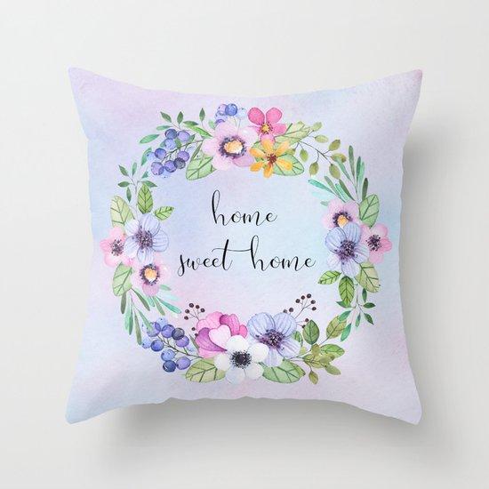 Home sweet home -blue Throw Pillow