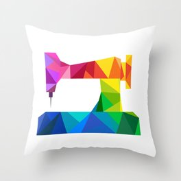 Geometric Sewing Machine Throw Pillow