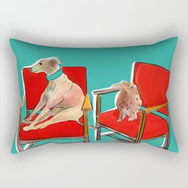 animals in chairs #14 The Greyhound and the Hare Rectangular Pillow