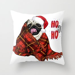 Hand Drawn Pug Dog Portrait in Santa Hat and Snuggled in Plaid Blanket Throw Pillow