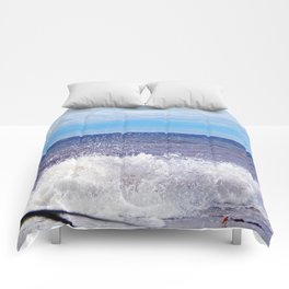 Wave Crashing onto the Beach Comforters